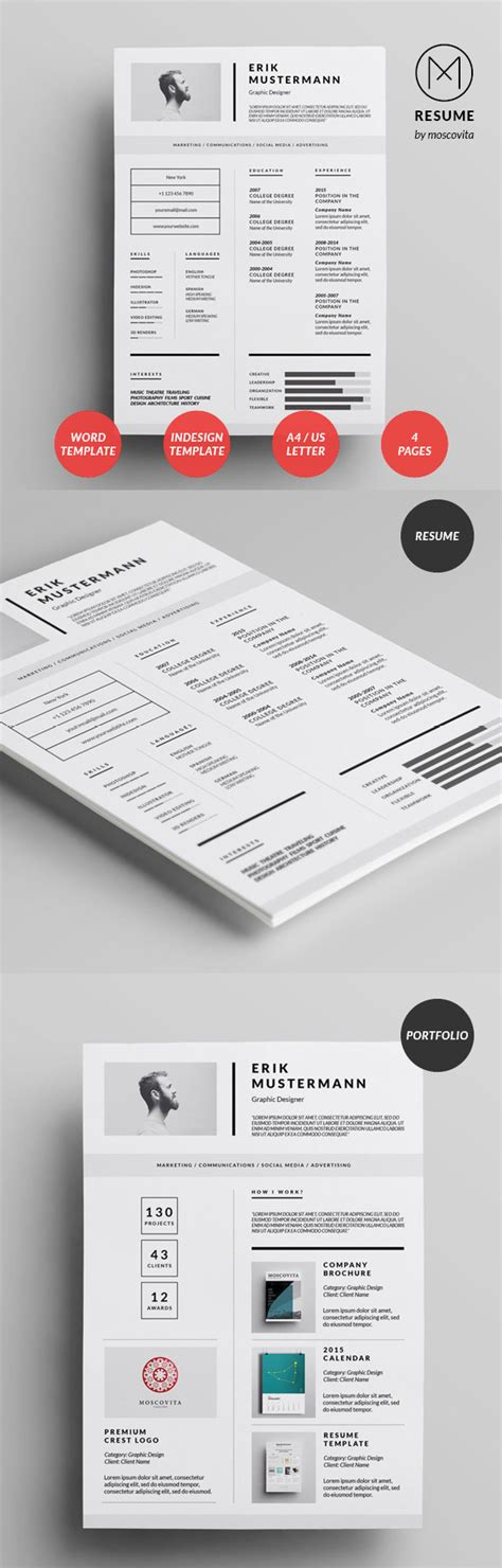 Modern Resume Design by 26 Creative Cv Resume Templates With Cover Letter