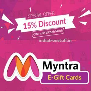 Myntra Gift Card - 15 discount on myntra e gift cards woohoo