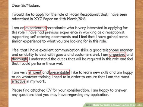 Cover Letter To Hotel by How To Write A Cover Letter To A Hotel With Pictures