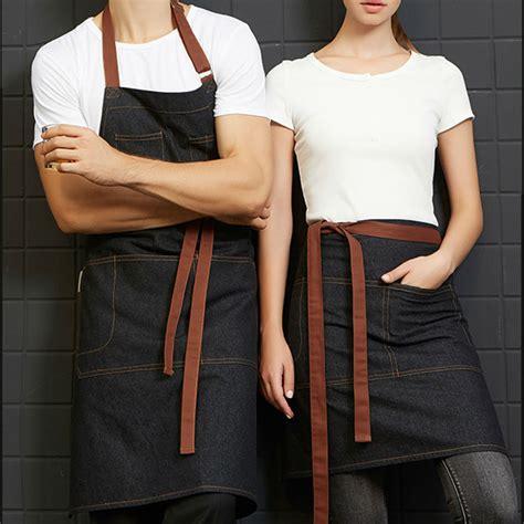 Apron Celemek Fashion Chef Barista half length black denim bib apron barista florist bartender chef workwear baker salon cafe