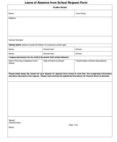 school leave application school leave application sle 7 exles in word pdf