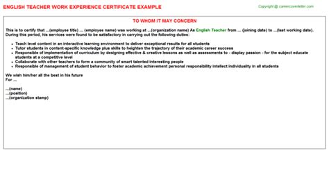 Experience Letter For Instructor Work Experience Certificate