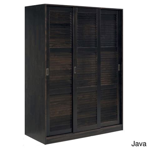 armoire overstock customizable solid pine three sliding door wardrobe