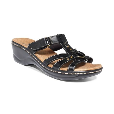 sandals womens clarks womens shoes sandals in black lyst