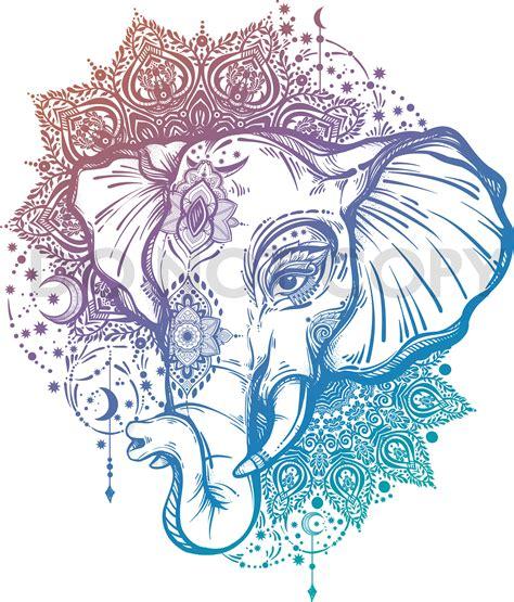 svg dxf elephant boho lotus bali ethnic digital download files