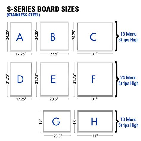 Size Boards Ids Menus Stainless Steel Menu Board Features