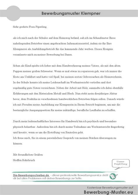 Daimler Bewerbungen Kostenloses Bewerbungsanschreiben Klempner Klempnerin