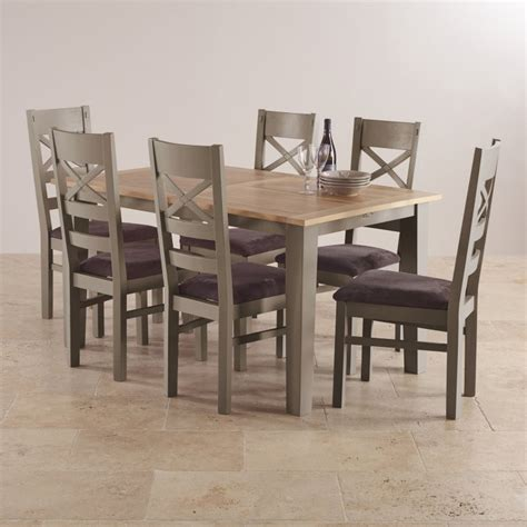 Painted Oak Dining Table And Chairs St Ives Oak And Grey Painted 5ft Extending Dining Table