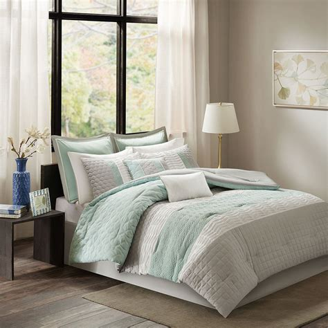 aqua blue comforter sets beautiful modern chic aqua blue grey white pintuck