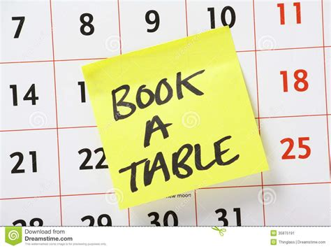 book a table reminder stock image image 35875191