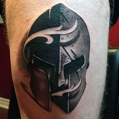 3d big detailed corrupted warrior helmet tattoo on thigh