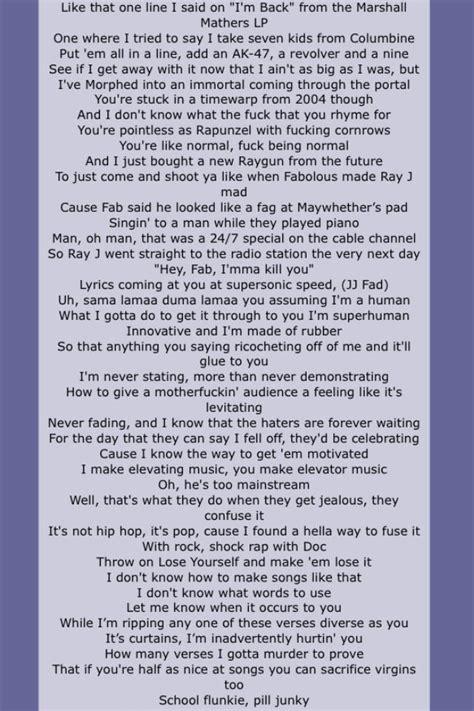 eminem azlyrics eminem rap god quot page four quot love love love this song he