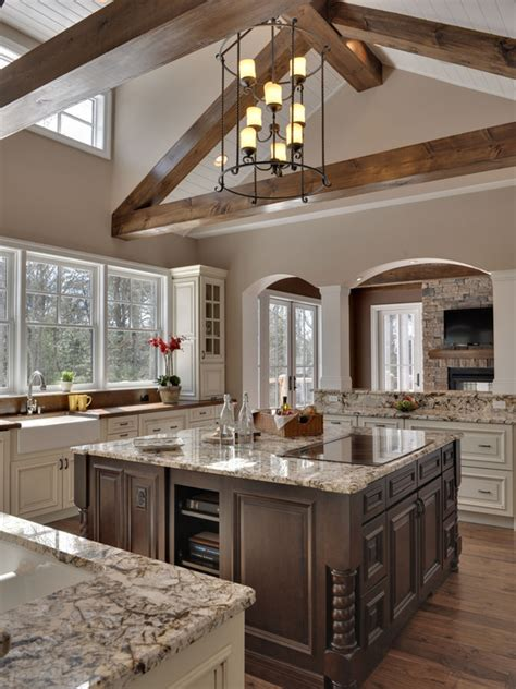 Kitchen Ceilings With Beams by Beautiful Two Tone Kitchen With Vaulted Ceiling Beams