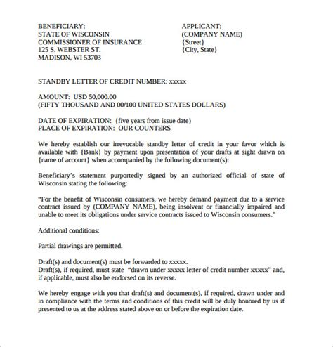 letter of credit draft template sle letter of credit 14 sles exles format