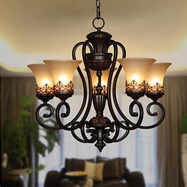 Wrought Iron Chandeliers With Crystals Max 60w Vintage Country Island Painting Metal