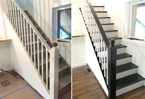 how to paint a stair banister facci designs how to paint a staircase black white before and after staircase