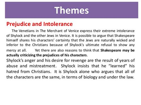 Themes In Merchant Of Venice by The Merchant Of Venice Analysis