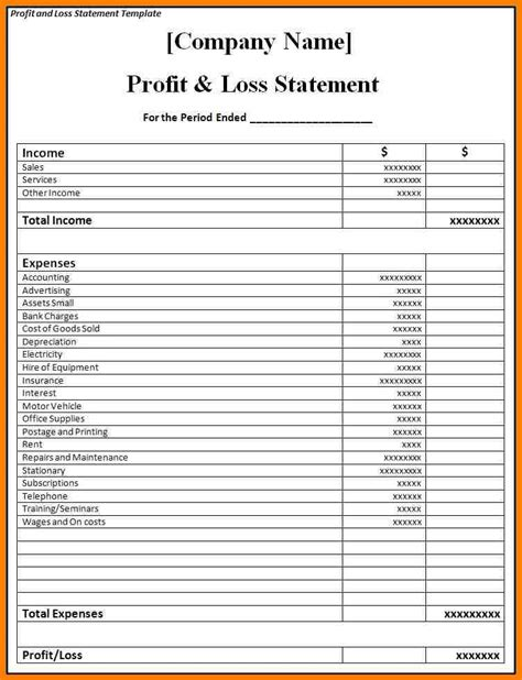 Profit And Loss Statements Template 8 blank profit and loss statement meal plan spreadsheet