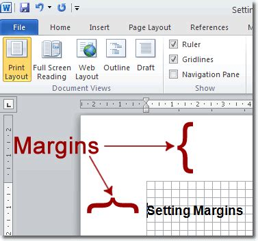 web layout word margins setting margins in word
