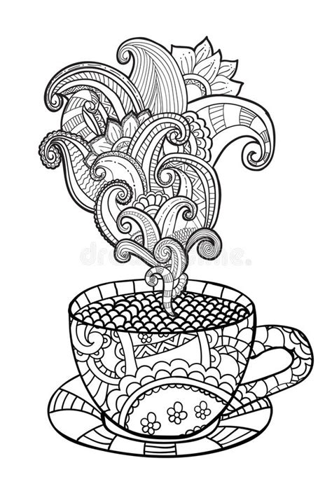 coloring pages for adults coffee vector coffee or tea cup with abstract ornaments stock