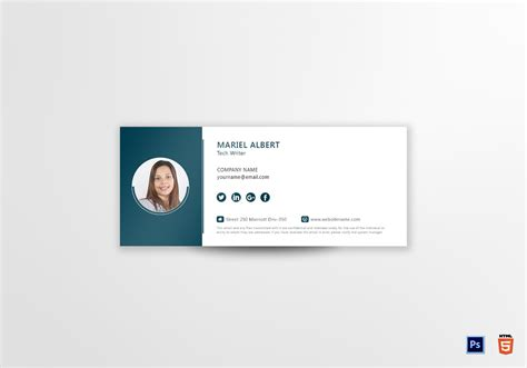 Technical Writer Email Signature Design Template In Psd Html Email Signature Illustrator Template