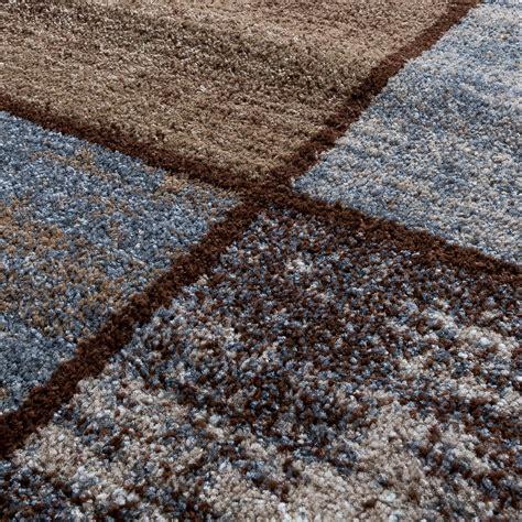 teppich kariert teppich wohnzimmer modern kariert meliert braun grau beige