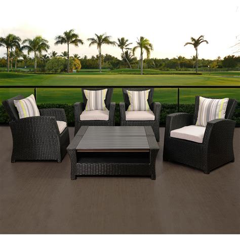 Atlantic Staffordshire 4 Person Resin Wicker Patio Black Wicker Patio Furniture