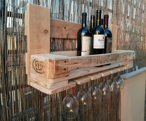 mensole porta bottiglie cantinetta pallet porta bottiglie e porta calici woodif