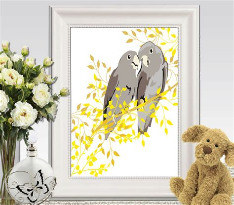 birds wall printable cockatoo print yellow gray home decor
