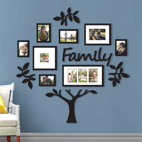 9 piece family tree wall photo frame set hanging frames picture home decor gift ebay large wall family tree frame 13 piece lot leaf picture