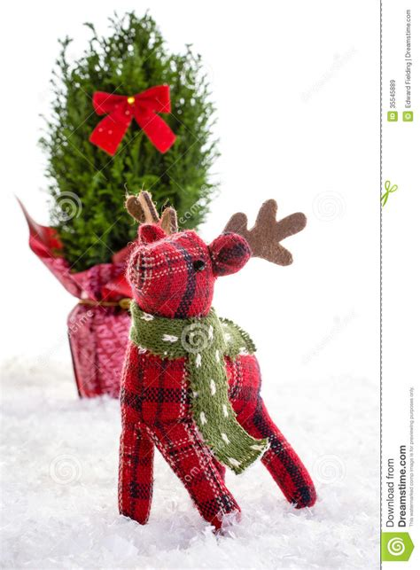 liteup xmas trees and reindeer reindeer stuffed animal decoration stock image image 35545889