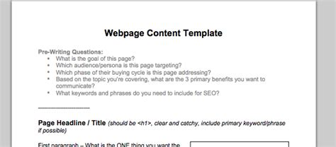 A Checklist For Writing A Great Web Page Website Content Template