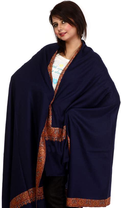 Pashmina Bordir Pashmina 1 navy blue pashmina shawl from kashmir with embroidered meenakari border