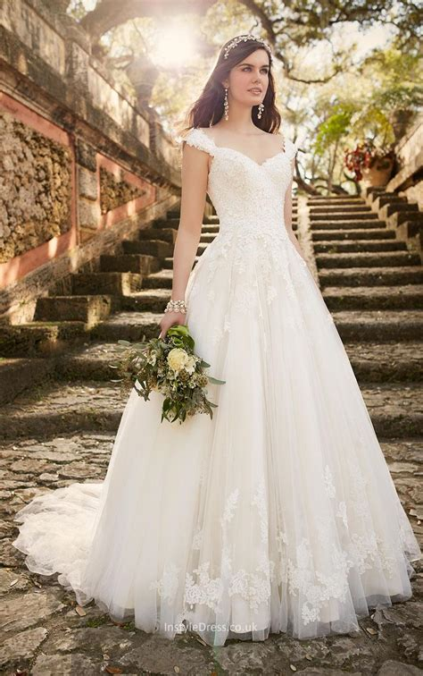 Chapel Wedding Dress by Cap Sleeves Floor Length Chapel A Line Lace Wedding