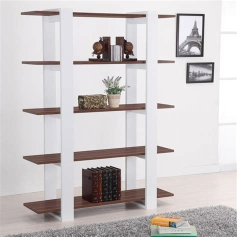 white modern bookshelves ellise bookcase display stand in matte walnut and white