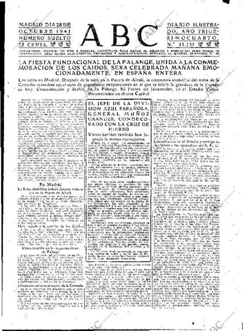 Periódico ABC MADRID 28-10-1941,portada - Archivo ABC