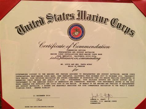 usmc certificate of commendation template letters notes bells of freedom