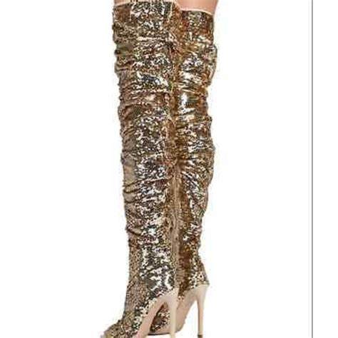 63 shoes thigh high gold sequin peep toe boots from