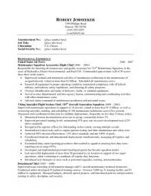 sle of comprehensive resume free sle resume maintenance supervisor