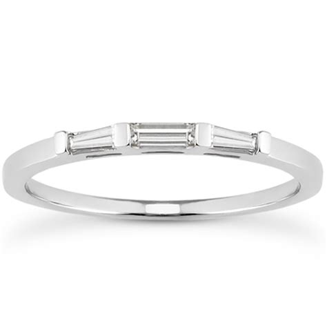 14k white gold tapered baguette three