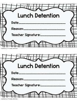 detention slip template lunch detention slip by 4th grade with teachers pay