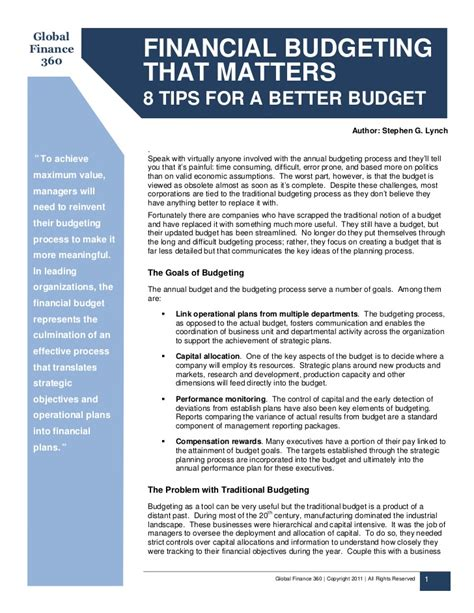 7 Tips For Budgeting Your Finances by Financial Budgeting That Matters 8 Tips For A Better Budget
