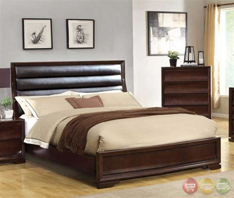 Walnut Bedroom Furniture Kozani Transitional Walnut Bedroom Set With Padded Leatherette Headboard Cm7116