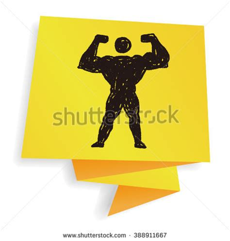 doodle strong drawing muscles pencil stock photos images