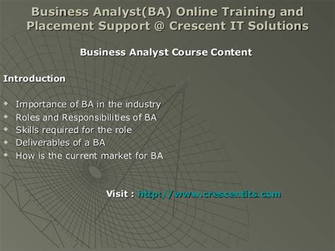 Business Support Analyst by Business Analyst Ba And Placement Crescent It Sol