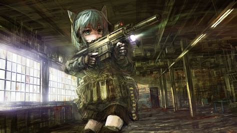 anime girl with gun wallpaper hd women guns military school modern warfare anime 1920x1080