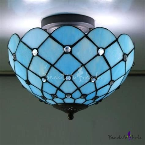 stained glass flush mount ceiling light mediterranean sea blue pattern 12 inch semi flush mount