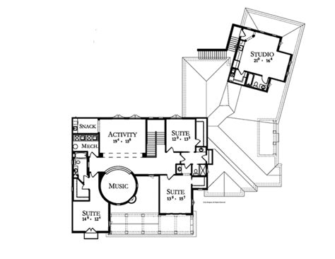 upper floor plan mediterranean style house plan 6 beds 5 baths 6493 sq ft