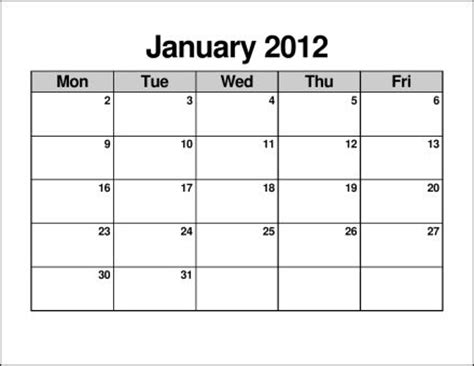 search results for monday through friday monthly calendar