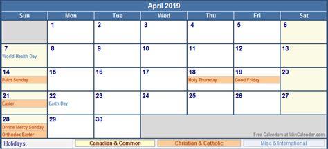 April 2019 Calendar With Holidays April 2019 Canada Calendar With Holidays For Printing